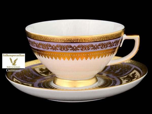 Diadem Violet Creme Gold Набор чайных пар FalkenPorzellan 250 мл (6 пар)