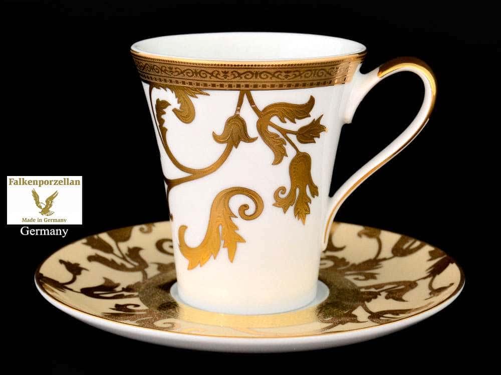 Tosca Creme Gold Набор чайных пар FalkenPorzellan 220 мл (6 пар)