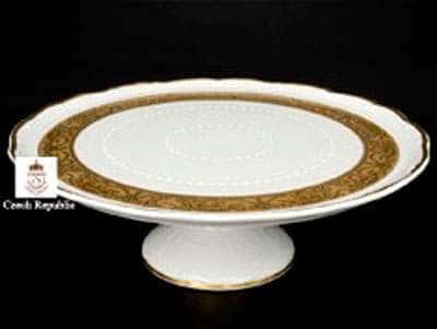 Мария Луиза Матовая полоса Тарелка для торта на ножке Carlsbad 32 см