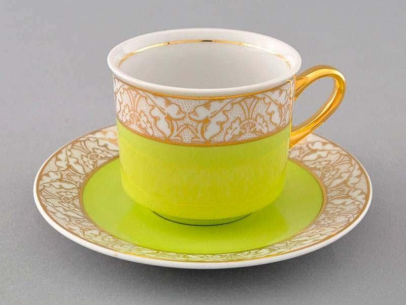 Чайная пара Сабина Золотые листья Салатовая  2 предмета 200 мл