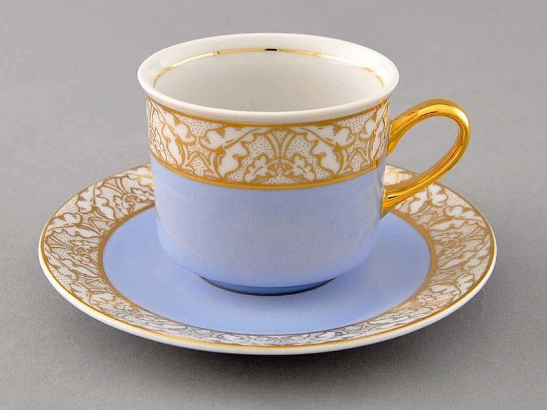 Чайная пара Сабина Золотые листья Голубая  2 предмета 200 мл