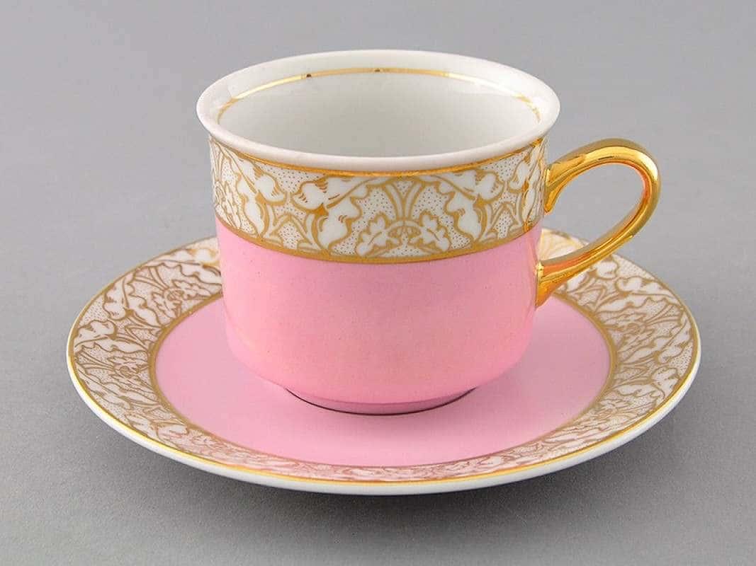 Чайная пара Сабина Золотые листья Нежно-розовая  2 предмета 200 мл