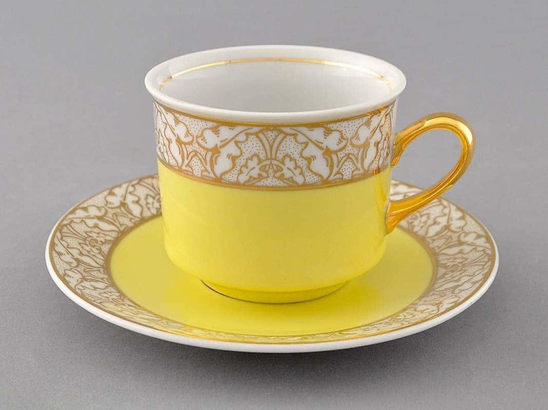 Чайная пара Сабина Золотые листья Желтая  2 предмета 200 мл