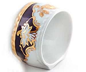 Кольцо для салфеток большое Соната Золотая роза Кобальт