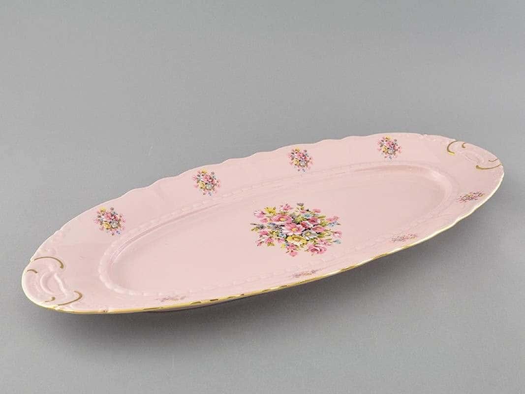 Блюдо овальное  55,5см Соната Бледные цветы Розовый фарфор