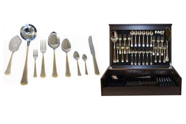 Набор столовых приборов 75 предметов на 12 персон Falperra Gold в деревянной коробке.