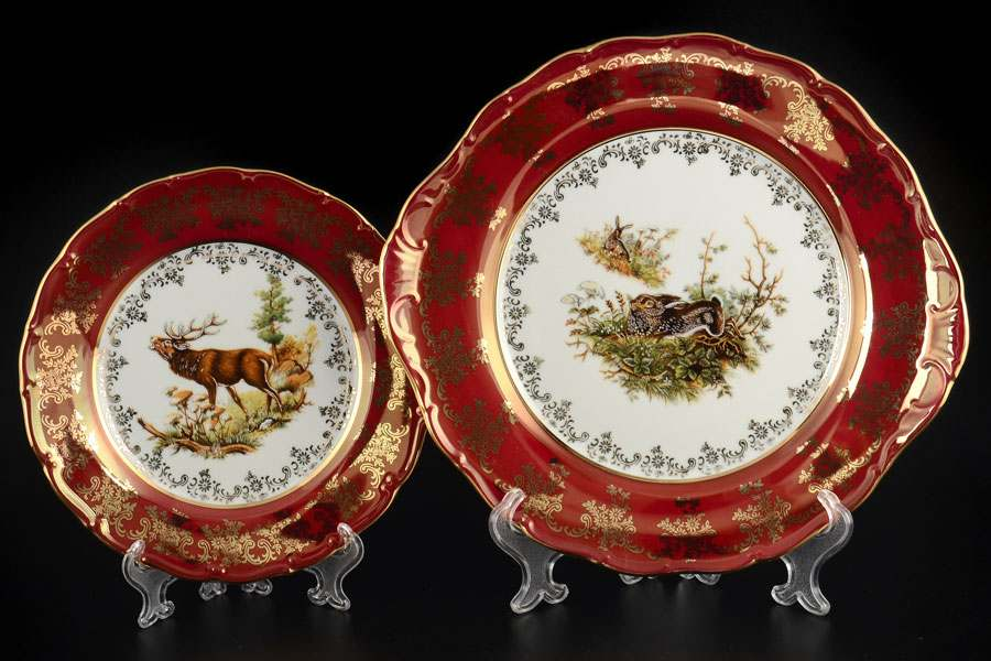 Царская Красная Охота Набор для торта Royal Porcelain 7 предметов