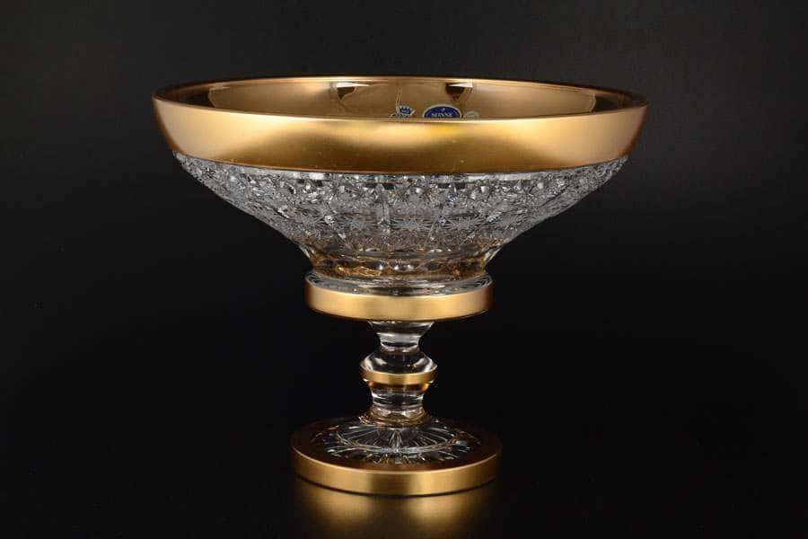 Фруктовница 30 см на ножке Sonne Crystal Золото