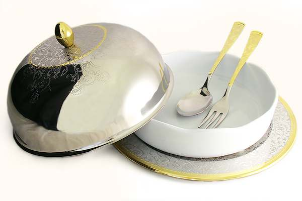 Круглое блюдо для горячего Dubai Gold/Silver