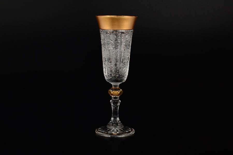 Набор фужеров для шампанского 150 мл Sonne Crystal Золото