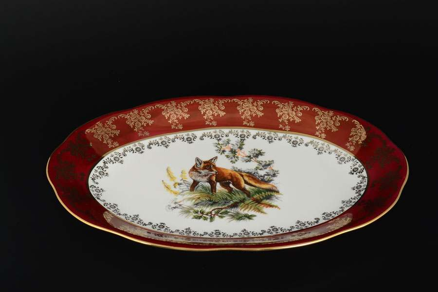 Блюдо овальное 32 см Царская Красная Охота Royal Porcelain