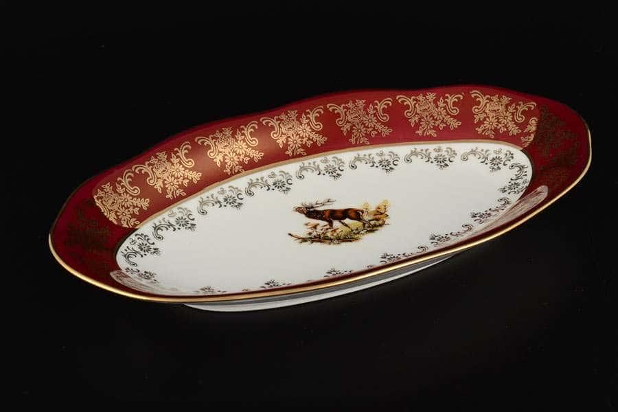 Блюдо овальное 26 см Царская Красная Охота Royal Porcelain