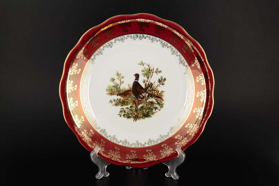 Блюдо круглое 30 см Царская Красная Охота Royal Porcelain