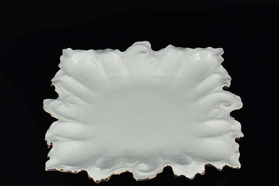 Блюдо фигурное квадратное 32 см Белый узор Корона