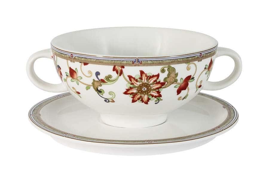 Суповая чашка на блюдце Кардинал