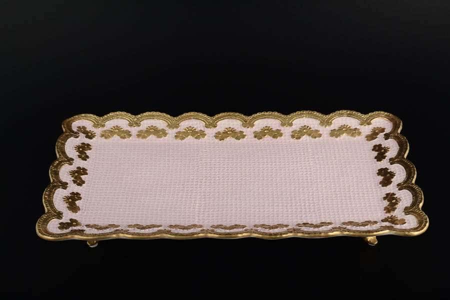 Блюдо Cattin розовое прямоугольное из фарфора Италия