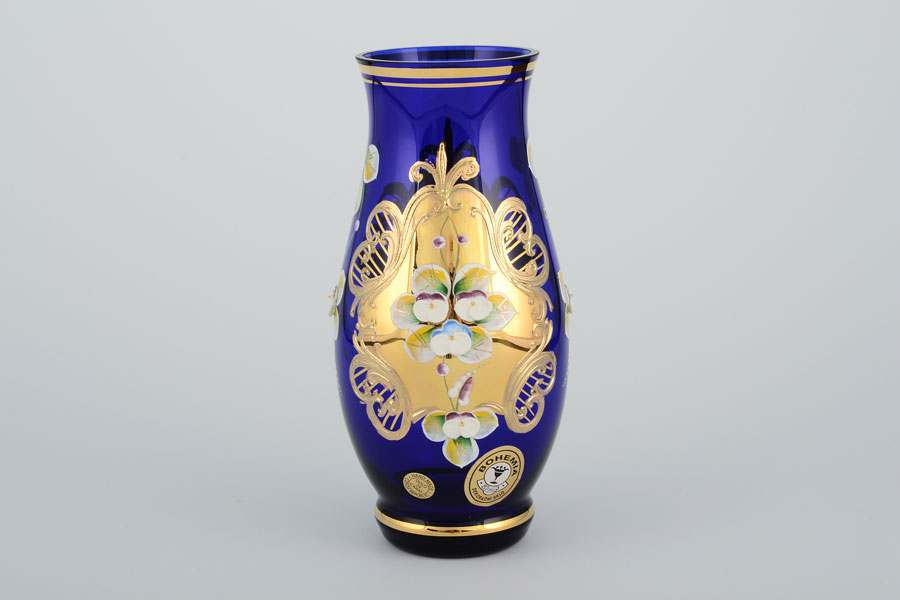 Ваза для цветов Лепка синяя E-V 16 см Bohemia