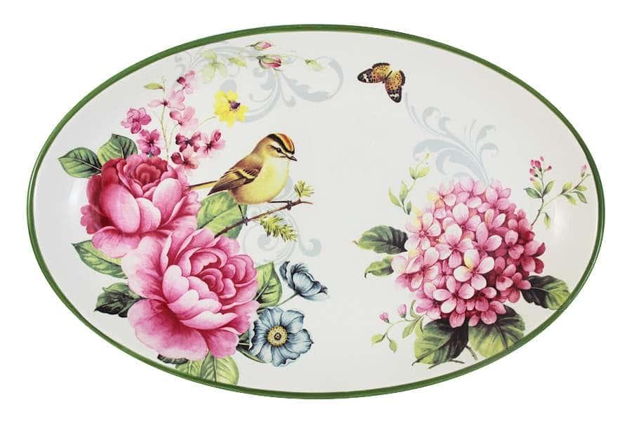Блюдо овальное Цветы и птицы INFINITY Китай
