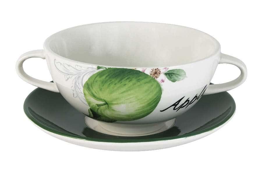 Суповая чашка на блюдце Зеленые яблоки