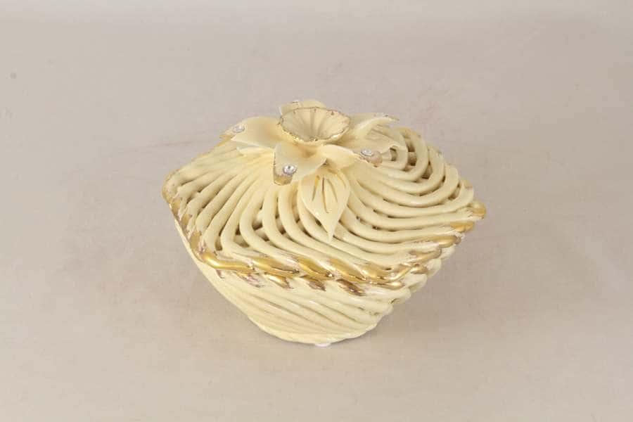 Шкатулка декоративная (6-ти гранная) (кремовая) Lanzarin Италия