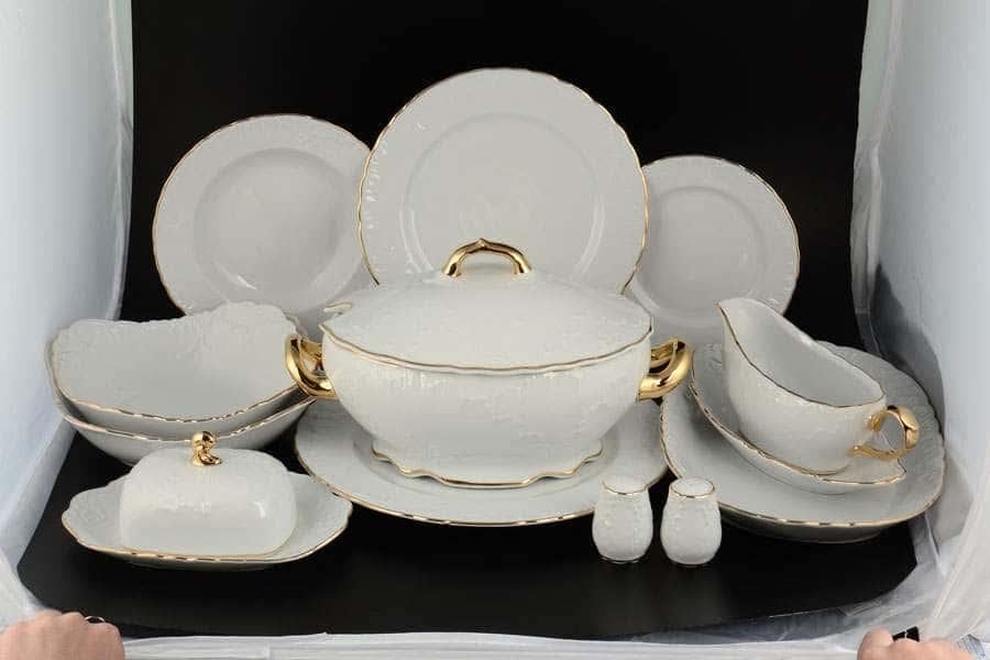 Рококо Отводка золото Столовый сервиз Royal Czech Porcelain на 6 персон 28 предметов