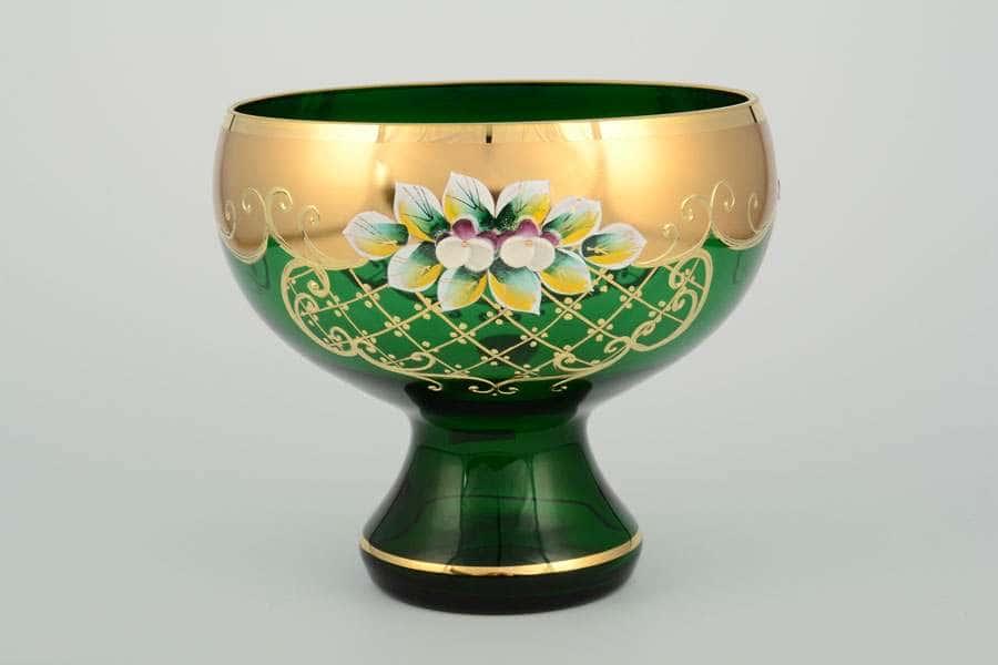 И-В Ирка Лепка зеленая Ваза для конфет Богемия 16 см