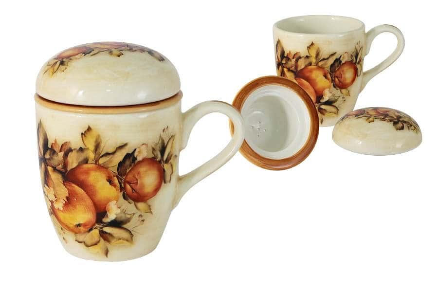 Кружка с керамическим ситечком и крышкой Зимние яблоки (LCS)