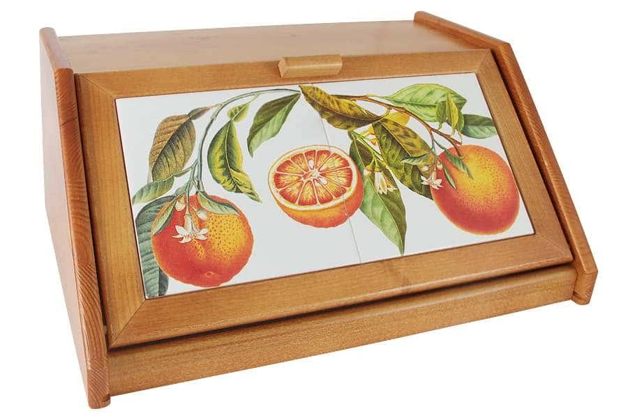 Деревянная хлебница с керамическими вставками Апельсины LCS Италия