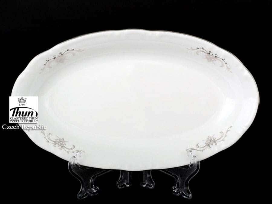 Констанция Серый орнамент Отводка платина Блюдо овальное Thun 21 см