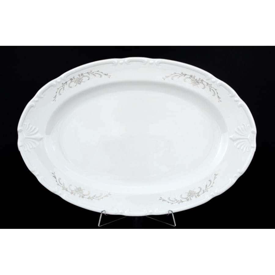 Констанция Серый орнамент Отводка платина Блюдо овальное Thun 32 см