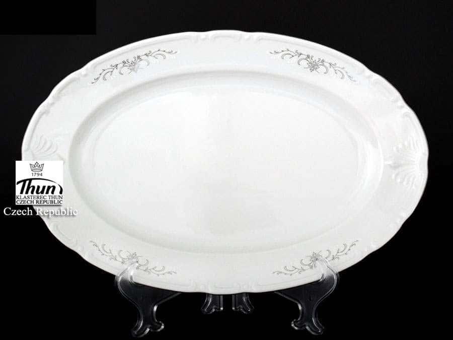 Констанция Серый орнамент Отводка платина Блюдо овальное Thun 36 см