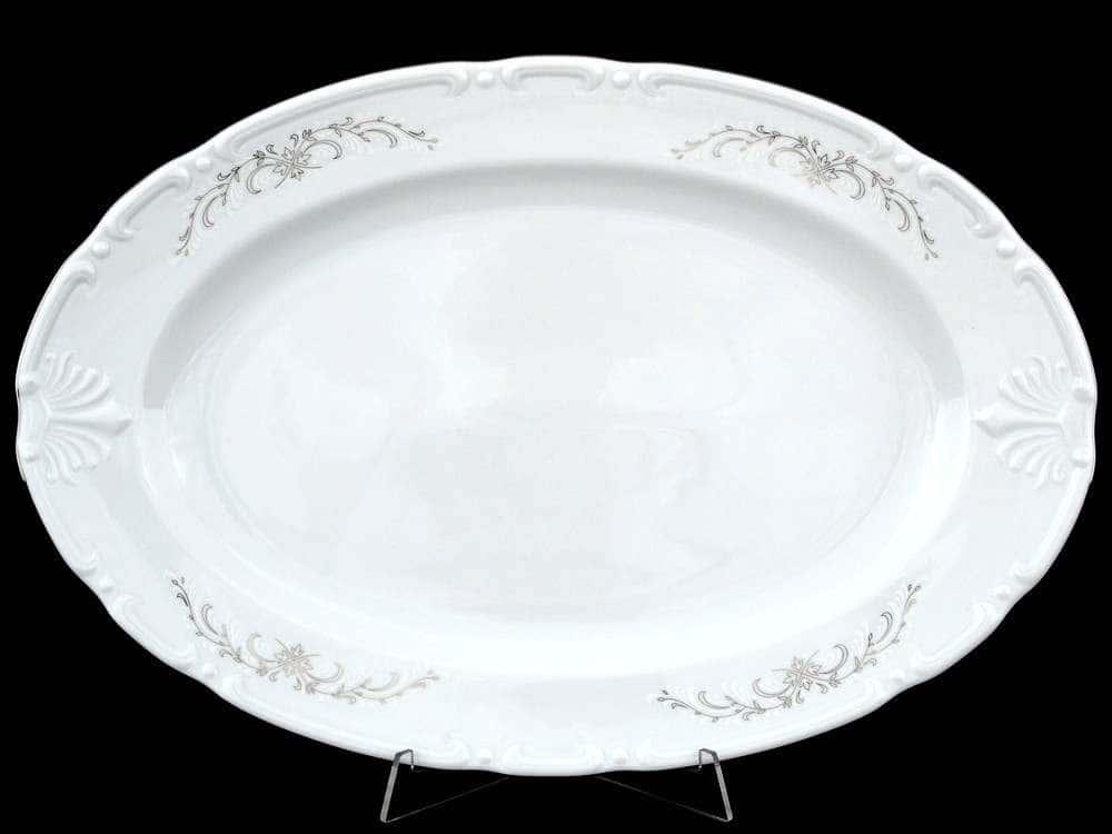 Констанция Серый орнамент Отводка платина Блюдо овальное Thun 39 см