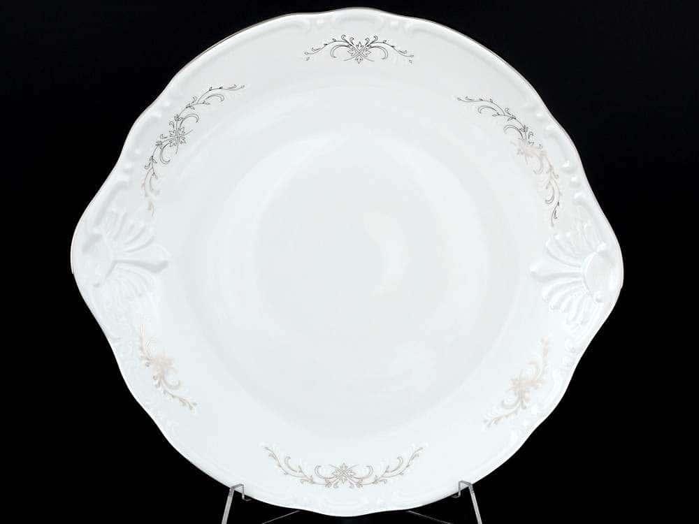 Констанция Серый орнамент Отводка платина Тарелка для торта Thun 27 см