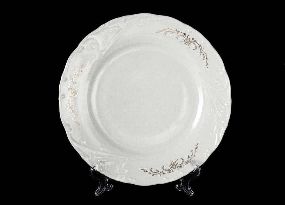 Лиана Серый орнамент отводка платина Набор тарелок MZ 19 см