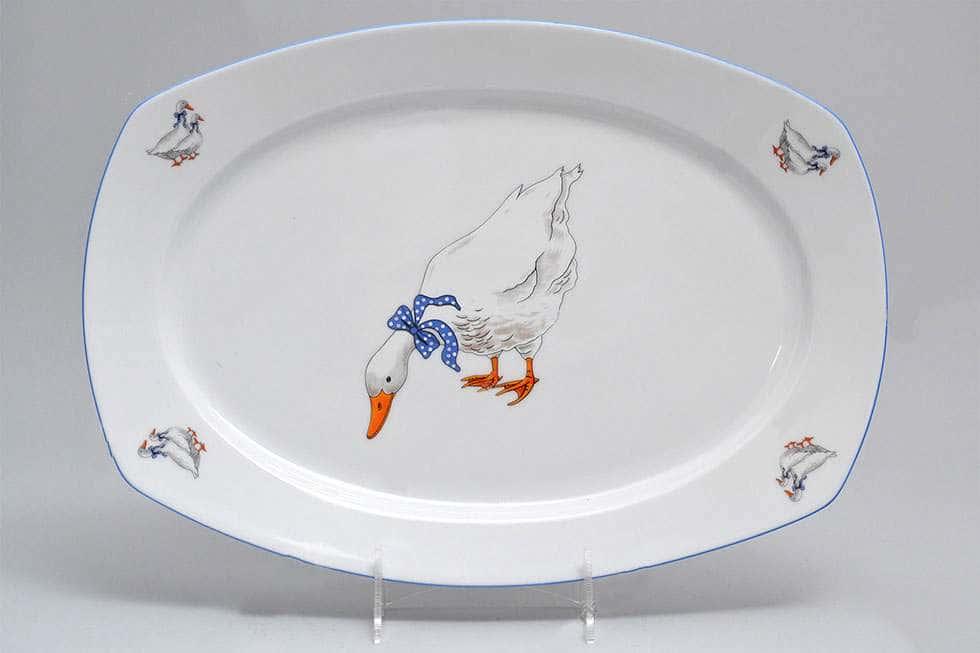 Тетра Гуси Блюдо овальное из фарфора MZ 36 см