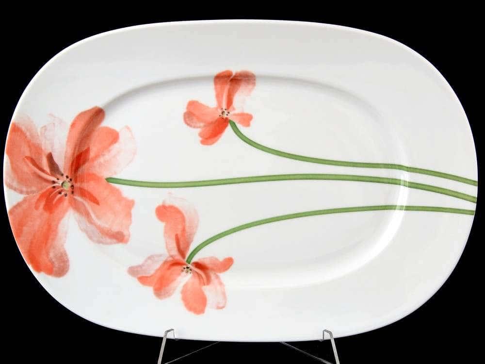 Леон Красные маки Блюдо овальное Thun 33 см