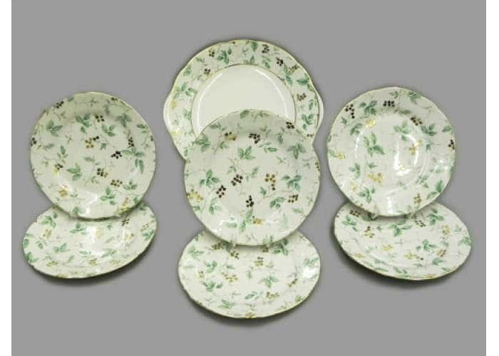 Сервиз для торта с дес. тарелкой 19 см, Мэри-Энн, Зеленые листья