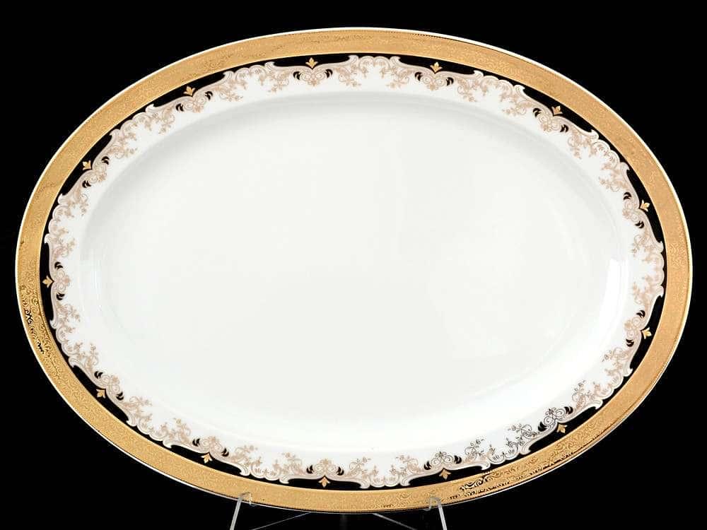 Кристина Черная Лилия Блюдо овальное из фарфора Thun 39 см