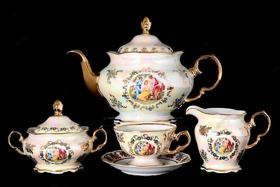 Мадонна Перламутр Чайный сервиз Royal Czech Porcelain на 6 персон 17 предметов
