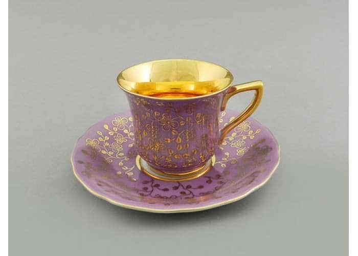 Чашка высокая 0,10л. Виндзор Золотые цветы сирень 31352