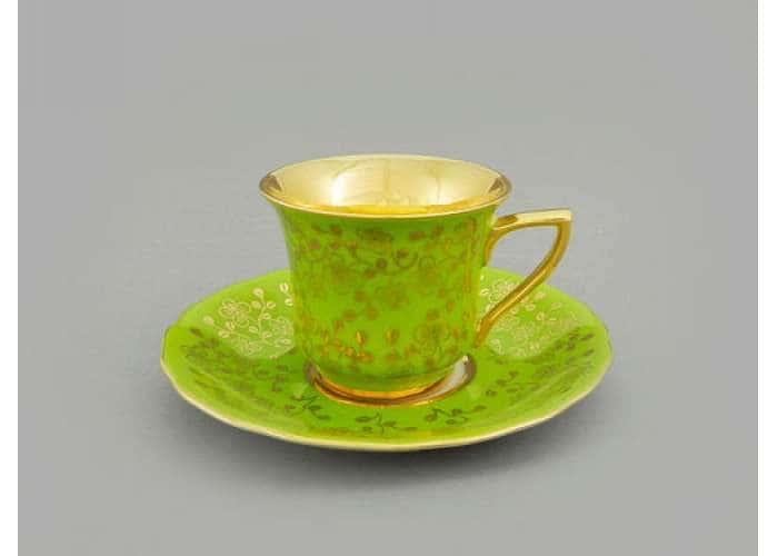 Чашка высокая 0,10л Виндзор  Золотые цветы,салатовый
