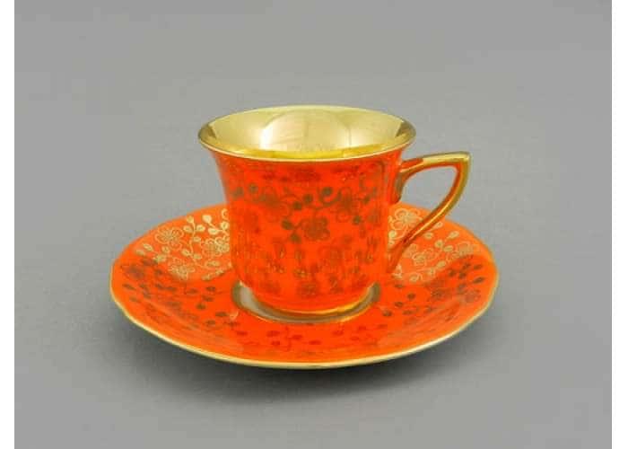 Чашка высокая 0,10л. Виндзор Золотые цветы оранжевый 31353