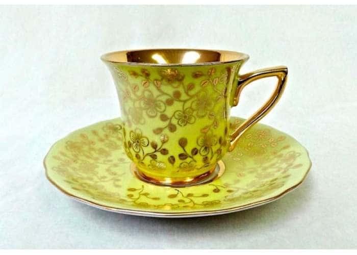 Чашка высокая 0,10л. Виндзор Золотые цветы желтый 31354