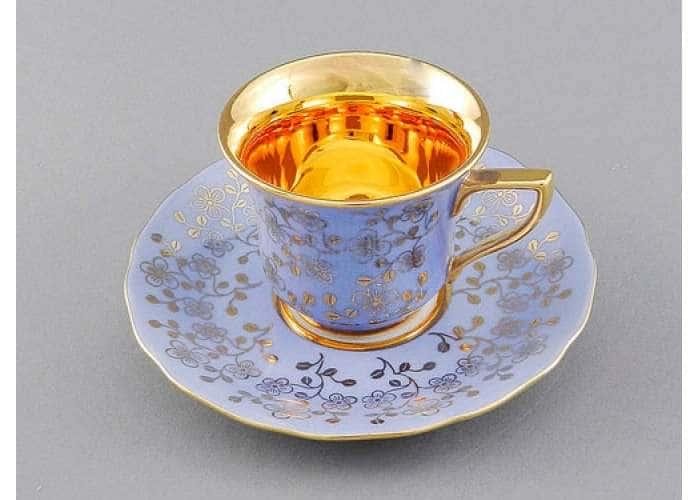 Чашка высокая 0,10л. Виндзор Золотые цветы светло-синий