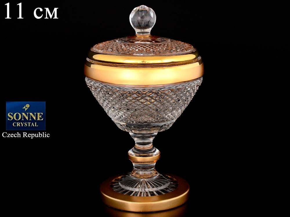 Доза 11 см на ножке Sonne Crystal Золото