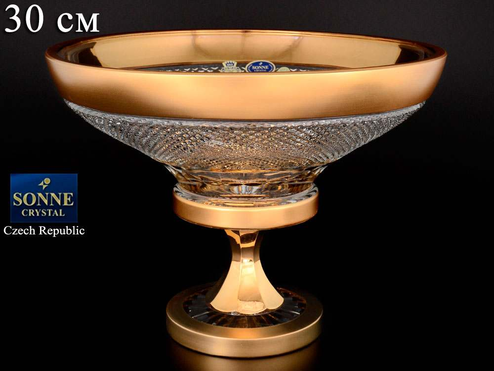 Felicia Фруктовница Фелиция 30 см на ножке Sonne Crystal Золото