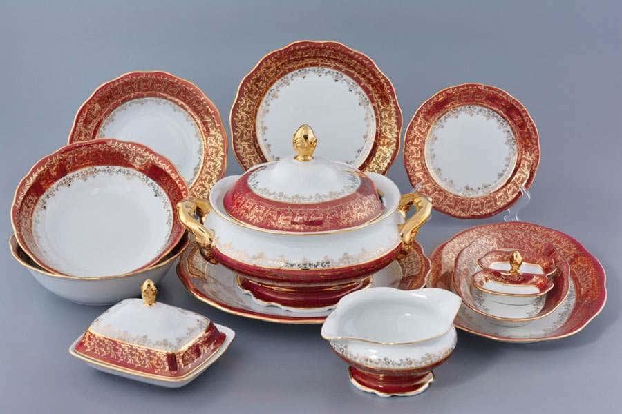Красная паутинка Столовый сервиз Royal Czech Porcelain на 6 персон 29 предметов