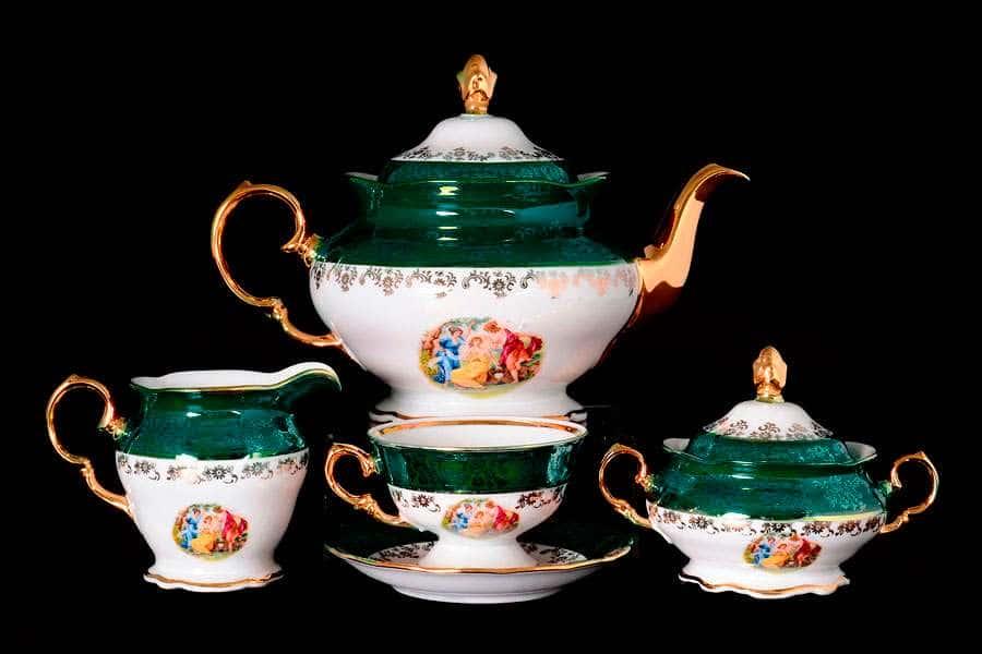 Зеленая Мадонна Чайный сервиз Royal Czech Porcelain на 6 персон 17 предметов