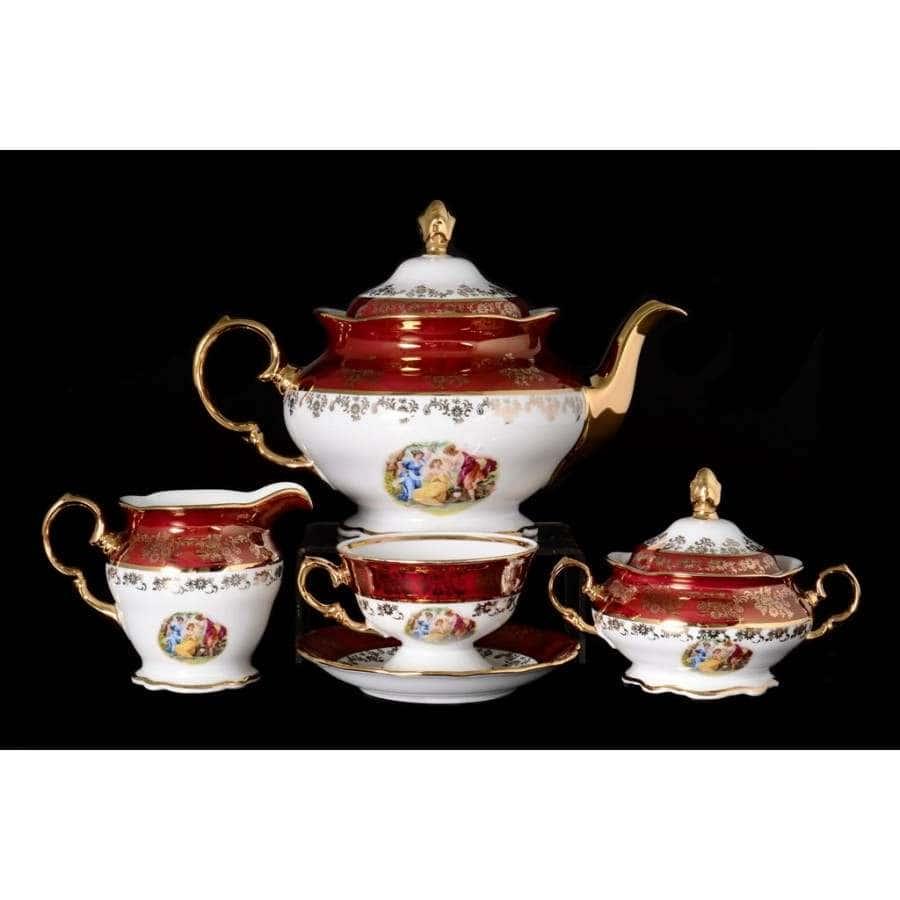 Красная Мадонна Чайный сервиз Royal Czech Porcelain на 6 персон 15 предметов