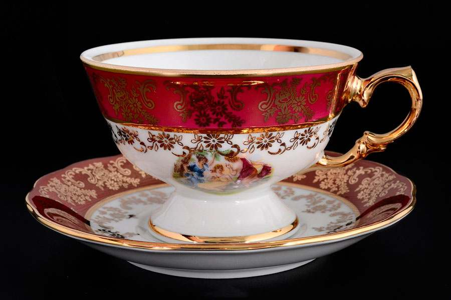 Красная Мадонна Набор чайных пар Royal Czech Porcelain